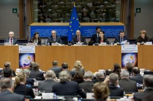 Herman VAN ROMPUY - President del Consell Europeu, Vangelis MEIMARAKIS, Martin SCHULZ - President del PE, Jose Manuel BARROSO - President de la Comissió Europea
