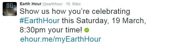 Earth Hour Twitter