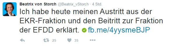 von Storch Twitter aankondiging