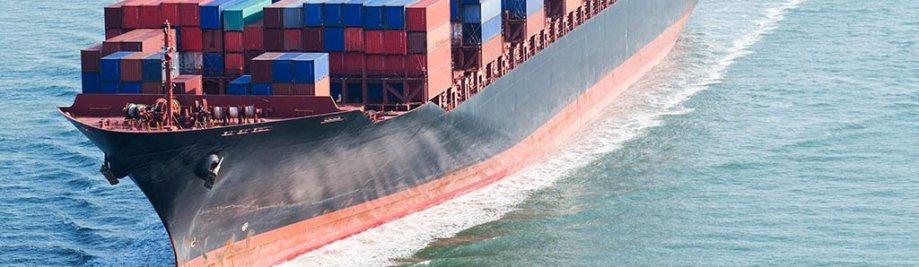 Groot houer skip aankom in Port.