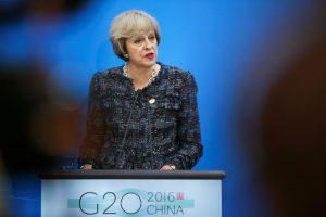Britse premier Theresa Mei adresse verslaggewers ná die sluiting van G20 Summit in Hangzhou, Zhejiang Provinsie, China, September 5, 2016. REUTERS / Damir Sagolj